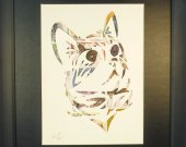 "Vintage Postage Stamp Art - ""Cat Head"""