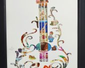 "Vintage Postage Stamp Art - ""Guitar"""