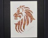 """Vintage Postage Stamp Art - """"Lion Head"""""""