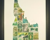 "Vintage Postage Stamp Art - ""State of Idaho"""