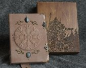 "Viking themed handmade leather notebook ""Scald™s Saga"" in wooden box"