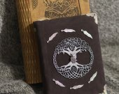 Celtic Legend series Handmade suede brown paper notebook in wooden box