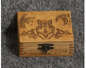 Celtic Wolf and Ravens themed mini wooden jevelery box/casket