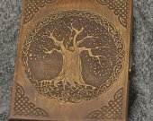 Celtic tree themed wooden jevelery box/casket - book-shaped - Black
