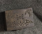 Celtic Wolf and Ravens wooden jevelery box/casket