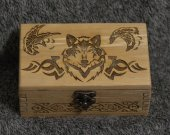 Celtic Wolf and Ravens themed alder wood jevelery box/casket