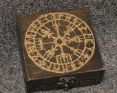Vegvisir themed wooden jevelery box/casket - square