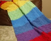 Baby knit blanket, Baby color Rainbow plaid, Gift for children, My little pony bedding