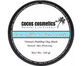 Coconut milk and Rice protein white clay facial mask/  Dry Skin, Oily skin -  Brightening Mask, Vegan skin care