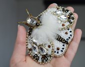 Handmade brooch embroidered with beads butterfly, insect pin, brooch with crystals and pearls, unique gift for her