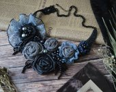 Original textile necklace with chiffon and beads