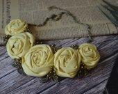 Handmade chiffon textile necklace in boho style