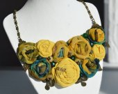 Handmade chiffon textile necklace with natural stones in boho style