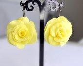 Earrings yellow roses handmade from plastic suede