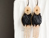 Handmade earrings black and gold with silk ribbon
