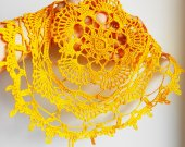 Lace crochet  yellow doily, Tablecloth central