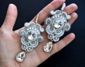 Original wedding soutache earrings with crystals