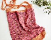 Crochet pink beach bag , Foldable tote bag , Seersucker beach bag
