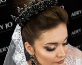 Black and gold handmade crown with crystals complete with earrings