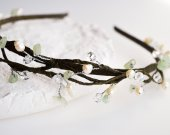 Handmade wreath headband hair band twigs with natural pearls and stones