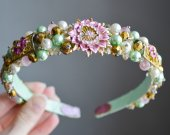 Beaded headband imitation pearls in pink and mint color