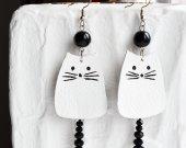 Earrings catshandmade from leather