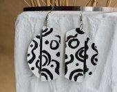 Black and white handmade leather earrings