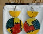 Bright stylish handmade genuine leather earrings