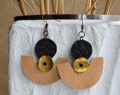 Handmade genuine leather earrings in Egyptian style