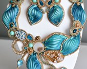 turquoise with gold color set soutache necklace and earrings with handmade shibori silk ribbon