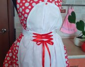 Vintage kitchen handmade cotton apron with red silky ribonned corset