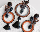 Original soutache set pendant with earrings