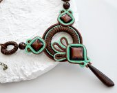 Handmade soutache necklace with walnut bead