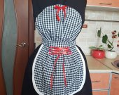 Vintage Black and Whte kitchen Sexy Apron with Red Ribboned Silky corset