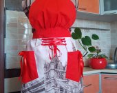 London Bridge Red and Brown Vintage-like Silky corset Apron handmade of cotton with silky ribboned corset
