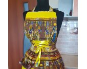 Egiptian Mummy Vintage-styled Fantastic Yellow Sand Apron with silky Corset handmade gift