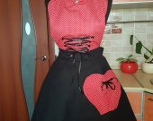 Unique Sexy Black and Red Vintage-styled Apron handmade of pure cotton with silky ribboned corset