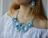 Handmade soutache set necklace and earrings