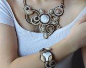 Handmade soutache set necklace, earrings, bracelet in brown and beige colors