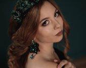 crown tiara diadem handmade emerald color with  earrings