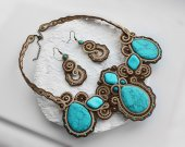 Handmade soutache set necklace and earrings beige and blue with natural stones