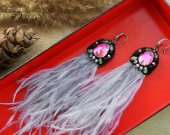 Handmade Gray Long Tassel Earrings with Ostrich Feathers and Crystals