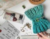 Knit Headband earwarmer with stones , Green woolen headband for women ,