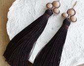 Handmade soutache brown tassel earrings