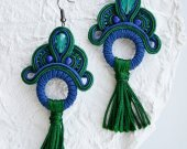 Soutache earrings blue and green with tassels
