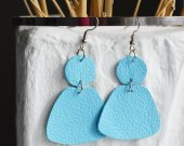Blue earrings made of genuine leather with a geometric shape