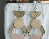 Long beige leather earrings, handmade, made of natural material, geometric shapes