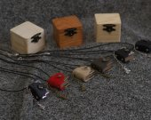 One inch tiny handmade leather notebook pendant in wooden box
