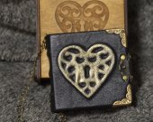 Heart series Handmade pink paper leather notebook in wooden box