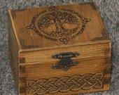 Secret Compartment Celtic Tree themed medium jevelery box/casket with hidden section